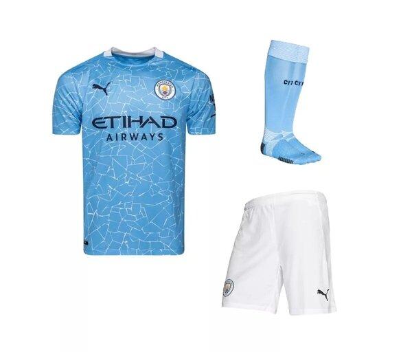 Детская домашняя форма Манчестер Сити сезон 2020-2021 (футболка + шорты + гетры)